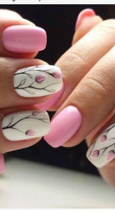 46 Trendy Ideas For Nails Sencillas Primavera 2017 Burgundy Nails, Blue Nails, White Nails, Sns Nails, Nail Manicure, Trendy Nail Art, Stylish Nails, Nails 2017, White Nail Designs