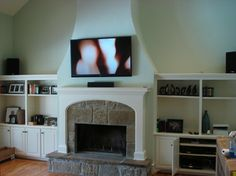 Tv Over Fireplace Design Ideas, Pictures, Remodel, and Decor - page 51 Like the bookcases