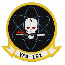 """VFA-151 patch. Stark and symbolic right down to the atomic orbits in the background, this patch screams """"grim purpose."""""""