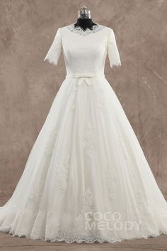 New+Style+A-Line+Jewel+Natural+Train+Tulle+Ivory+Half+Sleeve+Zipper+With+Buttons+Wedding+Dress+with+Sashes+CWXT1500C