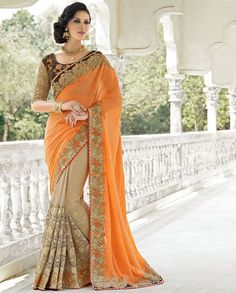 Orange and beige half and half sari with embroidered pleats   1. Orange and beige crepe net georgette half and half sari2. Zari stone and resham floral embroidered border 3. Comes with matching unstitched blouse