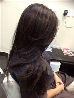 Gold Highlights on black hair