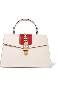 Gucci | Sylvie chain-embellished embossed leather tote | NET-A-PORTER.COM