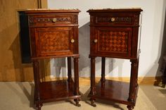 A Superb pair of mahogany French marble topped antique bedside cupboards.