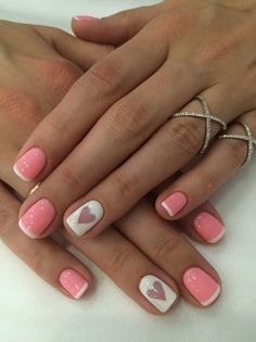 French manicure hearts