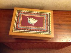 Upcycled wooden box Lovely Things, Wooden Boxes, Mosaics, Upcycle, Paper, Frame, Cards, Home Decor, Wood Boxes