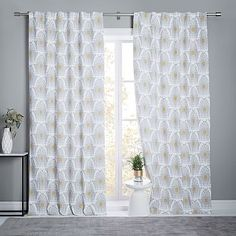 Stamped Ikat Linen Cotton Curtain + Blackout Lining - Frost Gray #westelm