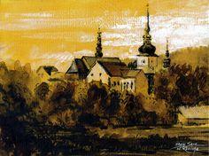 Stary Sącz. Watercolor & acrylic. Author: Witold Kubicha