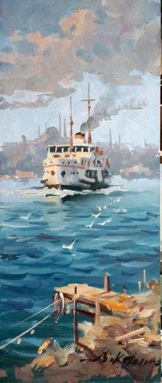 ARICAM - YAĞLIBOYA TABLO-İSTANBUL Art Watercolor, Watercolor Landscape, Landscape Paintings, Pour Painting, Painting & Drawing, Istanbul, Ship Drawing, Turkish Art, Gravure