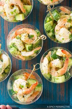 Garlic Lime Roasted Shrimp Salad Recipe for Spring and Summer! Dinner Party Appetizers, Bite Size Appetizers, Elegant Appetizers, Seafood Appetizers, Appetizer Recipes, Dinner Menu, Appetizer Ideas, Delicious Appetizers, Wedding Appetizers