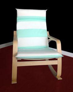 IKEA POÄNG Cushion Slipcover  Cabana Stripe Mint by RockinCushions