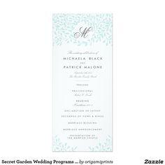 Secret Garden Wedding Programs - Mint 4x9.25 Paper Invitation Card