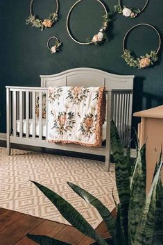 Nursery For Girl With Dark Wall And Flower Rings Accent ★ Colorful and simple nursery ideas for your baby or for twins to feel as comfortable and loved as possible. ★ baby nursery 27 Gorgeous Nursery Ideas To Bring Up Your Baby With Taste For Style Baby Room Boy, Baby Bedroom, Baby Room Decor, Baby Baby, Baby Twins, Babies, Diy Nursery Decor, Nursery Room Ideas, Diy Nursery Furniture