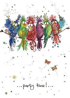 BugArt Animal Splats ~ Party Birds. ANIMAL SPLATS Original drawings by Marjorie Dumortier. Card designs by Jane Crowther.