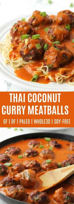 Thai Coconut Curry Meatballs are a long time favorite at my house! Savory Thai style meatballs (turkey or beef) topped with a creamy coconut curry sauce. | thenourishedfamily.com