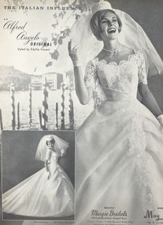An Italian Influence by Alfred Angelo, Spring 1963, vintage designer fashion bride ad