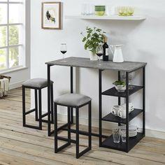 Mercury Row Denham 3 Piece Gray Pub Table Set & Reviews | Wayfair