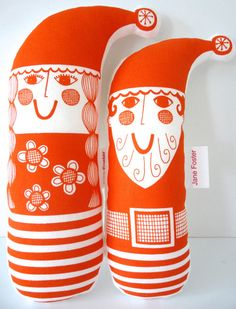 Pair of Scandinavian Santa and Mrs Christmas plush toys - screen printed fabric Jane Foster. $42.00, via Etsy.
