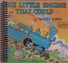 """""""The Little Engine That Could"""" Recycled hardcover book JOURNAL! One of a kind, unrepeatable, and all yours/ your gift recipient's. All of our journals include some excerpts from the original book, whatever library ephemera is native to the book, and around 80-90 sheets of acid free, blank paper. Just $14. Click on this image to visit our site. Or click on this link: www.bookjournals.com Love, Jacob Ex Libris Anonymous, Portland, Oregon."""
