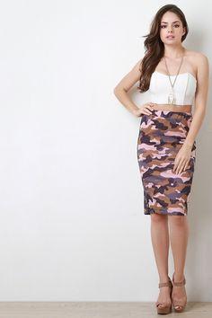 Sporty Camo Print Pencil Skirt