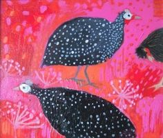Louise Waugh.  Fun critters....Turkeys? Roosters? Pheasant????  Answer: guinea hens! I think...