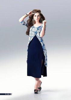 Awesome Navy Blue Rayon Kurti Top1863
