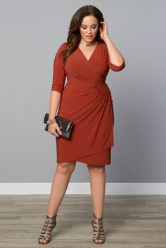 FALL in love with our plus size Ciara Cinch Dress.  Available in a gorgeous Terra Cotta orange, you'll love the easy pullover style and flattering design.  Browse our entire made in the USA collection online at www.kiyonna.com.  #KiyonnaPlusYou