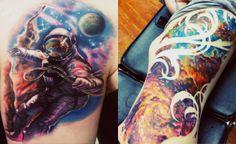 i love the astronaut Alien Tattoo, O Tattoo, Piercing Tattoo, Body Art Tattoos, Great Tattoos, Beautiful Tattoos, Small Tattoos, Galaxy Tattoo Sleeve, Galaxy Tattoos