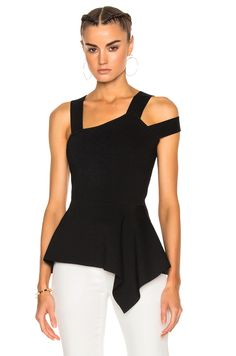 Image 1 of Roland Mouret Raysee Birdseye Stitch Top in Black