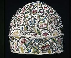 England, Man's Cap, 1601/25,  Linen, plain weave; embroidered with silk floss and gilt-metal-strip-wrapped silk, in variety of buttonhole, chain, long-armed cross, ladder, outline, and running stitches; woven wheels