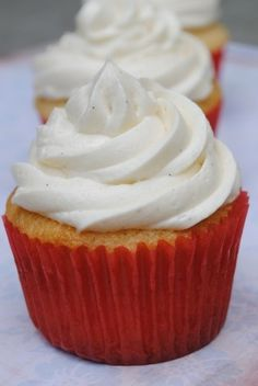 Vanilla Bean Buttermilk Cupcakes with BEST EVER Vanilla Bean Frosting  (no powdered sugar= not too sweet!) sdjksmom
