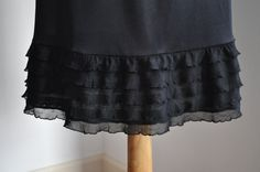 Black Tiered  Ruffle Trimmed Slip Available in White by vezanie, $25.00