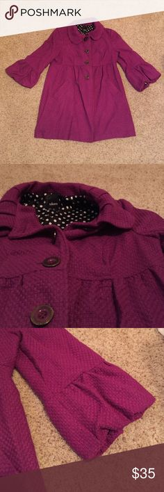 Takara Magenta Pea Coat Gently Worn • Magenta • Black + White Polka Dot Lining • Ruffle 3/4 Length Sleeves • Bow on Back • Buttons on Front • Pockets • Runs a Little Big (I usually wear an XL) • Little Longer than Classic Pea Coat Takara Jackets & Coats Pea Coats