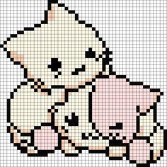 Kawaii Cutie Kittens Playing Perler Bead Pattern / Bead Sprite