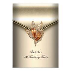 Elegant Caramel Beige Gold Birthday Party Invitations