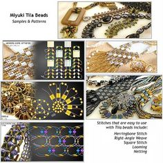 Quick tila beads patterns. Site has links to other patterns, as well as inspiration photos of pretty jewelry. Also links to: http://www.miyuki-beads.co.jp/english/tila