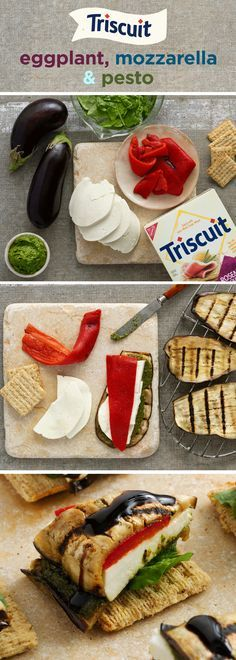 Eggplant, mozzarella & pesto, oh my! Lightly grill eggplant slices 2-3 min. on each side, then brush one side of each slice with pesto. Top 1⁄2 of the eggplant slices with cheese and roasted red peppers, then cover with the remaining eggplant slices, pesto side down. Top TRISCUIT Rosemary & Olive Oil Crackers with spinach; cut each eggplant stack into 4 slices or wedges and place on top of spinach. Finish with a drizzle of balsamic glaze. Voila!