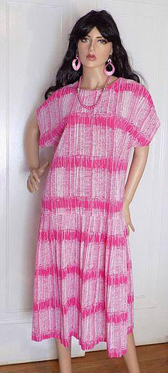 NWOT- Vintage 1960s BLAIR Pink Geometric Drop Waist Pleated Scooter Dress - 20 #BLAIR
