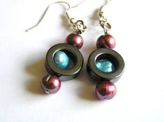 Raspberry & Sky Blue Dyed Freshwater Pearl and by BeadsStonesEtc, $12.00