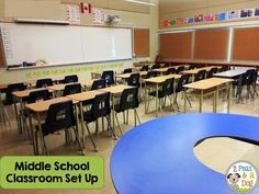 Detailed instructions and a ton of photos on how to set up a middle school classroom by 2 Peas and a Dog.