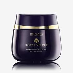 Royal Velvet Repairing Night Cream Nourishing night cream with Black Iris Infusion to restore the skin's natural youth and improve firmness overnight. Faster firming-effect when combined with Royal Velvet Day Cream. 50 ml. Black Iris, Skin Firming, Skin Cream, Beauty Supply, Aqua, Velvet, Cosmetics, Night, Alcohol