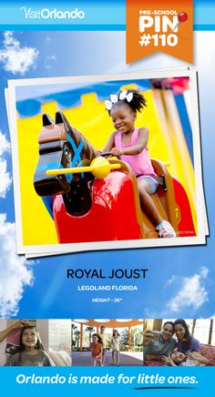 "Royal Joust - Saddle up and ride LEGO-themed horses through a number of medieval scenes where you encounter other riders in a simulated joust. Minimum height: 36"" #VisitOrlando #Legoland #Lego #LegolandFlorida #Orlando #Preschool #littleones #travel #familytravel"