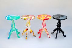 metafaux design: swirling stools dipped in marble paint colors