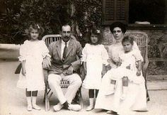 Prince Nicholas of Greece and Denmark and Grand Duchess Elena Vladimirovna Romanov of Russia with their daughters,Princesses Olga,Elizabeth and Marina of Greece and Denmark in 1908.A♥W