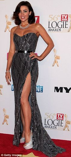 Dazzling: Dannii Minogue wore a racy strapless Paolo Sebastian gown to the Logie Awards in Melbourne