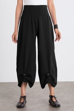 Bungee Pant by Noblu . Adjustable bungee cord details front and back lend playful character and creative styling to a wide-leg pant in baby French terry. We love that it's comfortable and easy to wear for travel, work, or play.