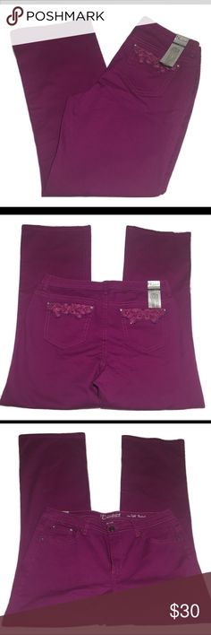 "New Directions Weekend Bootcut jeans Purple New Directions Weekend bootcut jeans. The back pockets are embellished, all stones are in place. Size 16W, the material is 97% Cotton/3% Spandex. Measurements are Waist 38"", Front rise 11"", and Inseam 33"".                                       🚭Smoke Free Home🚭 ✅Offers Welcome on All Purchases ✅Next Day Shipping 📏Measurements Taken Flat ❌Off-Posh Transactions ❌Trades new directions Jeans Boot Cut"