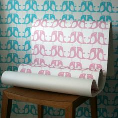 Pink Penguin Wallpaper @ www.designvintage.co.uk