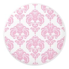 Light Pink & White Damask Elegant Chic Bedroom Ceramic Knob - modern gifts cyo gift ideas personalize