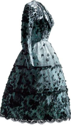 Balenciaga 1947 | Dress in blue rayon satin and black silk lace, with smooth velvet appliqués and chenille embroidery